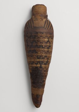 <em>Hawk Mummy</em>, 30 B.C.E.-395 C.E. Animal remains, linen, 16 1/2 × 4 7/8 × 2 5/8 in. (41.9 × 12.4 × 6.7 cm). Brooklyn Museum, Gift of the Egypt Exploration Fund, 13.1092. Creative Commons-BY (Photo: Brooklyn Museum, 13.1092_PS9.jpg)