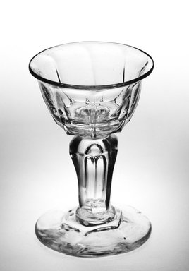 <em>Lipped Ogee Bowl</em>, 1680-1730. Glass, Height: 3 7/8 in. (9.8 cm). Brooklyn Museum, Purchased by Special Subscription and Museum Collection Fund, 13.205. Creative Commons-BY (Photo: Brooklyn Museum, 13.205_bw.jpg)