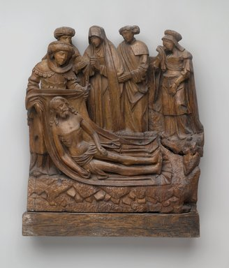 <em>Lamentation</em>, ca. 1500-1510. Carved wood, 15 3/8 x 14 x 3 1/4 in. (39.1 x 35.6 x 8.3 cm). Brooklyn Museum, 13.23. Creative Commons-BY (Photo: Brooklyn Museum, 13.23_PS2.jpg)