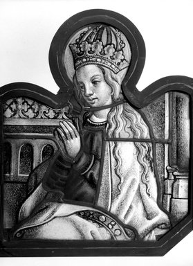 <em>Panel depicting Crowned Virgin</em>, 16th century. Stained glass, 14 x 16 1/8 in. Brooklyn Museum, Henry L. Batterman Fund, 13.24. Creative Commons-BY (Photo: Brooklyn Museum, 13.24_bw.jpg)