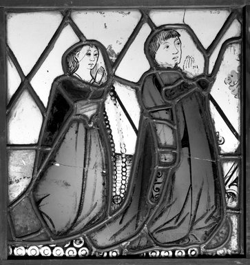 <em>Panel depicting Two Donors</em>, early 15th century. Stained glass, 12 3/4 x 12 in. Brooklyn Museum, Henry L. Batterman Fund, 13.25. Creative Commons-BY (Photo: Brooklyn Museum, 13.25_bw.jpg)