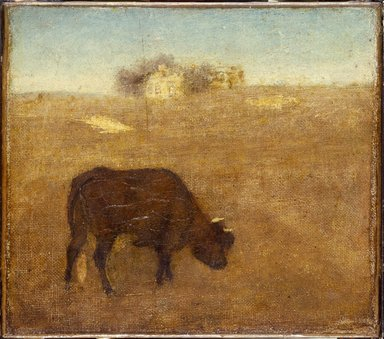 Albert Pinkham Ryder (American, 1847-1917). <em>Evening Glow, The Old Red Cow</em>, early-mid 1870s. Oil on canvas, 7 7/8 x 9 in. (20 x 22.8 cm). Brooklyn Museum, Frederick Loeser Fund, 13.34 (Photo: Brooklyn Museum, 13.34_SL3.jpg)