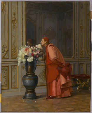 Jehan-Georges Vibert (French, 1840-1902). <em>An Embarrassment of Choices, or A Difficult Choice (Un Embarras du Choix)</em>, before 1873. Oil on panel, 18 1/8 x 14 1/8 in. (46 x 35.9 cm). Brooklyn Museum, Gift of Mrs. Carll H. de Silver in memory of her husband, 13.39 (Photo: Brooklyn Museum, 13.39_PS9.jpg)