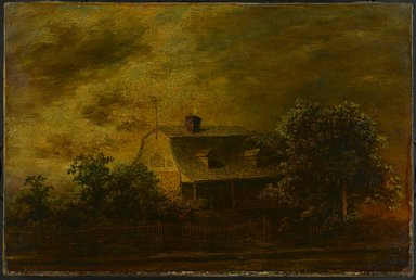 Ralph Albert Blakelock (American, 1847-1919). <em>Farmhouse of F.B. Guest</em>, ca. 1868. Oil on canvas, 16 1/8 x 24 1/8 in. (40.9 x 61.2 cm). Brooklyn Museum, Gift of Charles A. Schieren, 13.46 (Photo: Brooklyn Museum, 13.46_PS1.jpg)