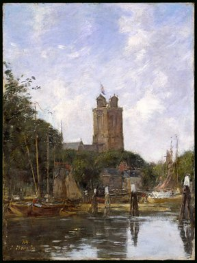 Eugène Louis Boudin (French, 1824-1898). <em>Dordrecht, the Grote Kerk from the Canal</em>, 1874. Oil on panel, 13 13/16 x 10 3/8 in. (35.1 x 26.4 cm). Brooklyn Museum, Gift of Mrs. Carll H. de Silver in memory of her husband, 13.47 (Photo: Brooklyn Museum, 13.47_SL3.jpg)