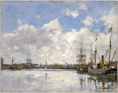 Eugène Louis Boudin (French, 1824-1898). <em>Le Havre, The Port (Le Havre, Le Port)</em>, 1884. Oil on panel, 12 3/4 x 16 3/16 in. (32.4 x 41.1 cm). Brooklyn Museum, Gift of Mrs. Carll H. de Silver in memory of her husband, 13.48 (Photo: Brooklyn Museum, 13.48_SL3.jpg)