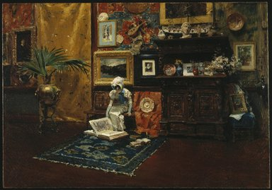 William Merritt Chase (American, 1849-1916). <em>Studio Interior</em>, ca. 1882. Oil on canvas, 28 1/16 x 40 1/8 in. (71.2 x 101.9 cm). Brooklyn Museum, Gift of Mrs. Carll H. de Silver in memory of her husband, 13.50 (Photo: Brooklyn Museum, 13.50_SL1.jpg)