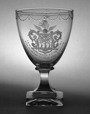 <em>Very Fine Glass, Engraved Flanders</em>, ca. 1690-1810. Glass, 5 1/2 x 3 3/8 in. (14 x 8.6 cm). Brooklyn Museum, Purchased by Special Subscription and Museum Collection Fund, 13.513. Creative Commons-BY (Photo: Brooklyn Museum, 13.513_acetate_bw.jpg)