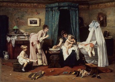 Václav Brožík (Czech, 1851-1901). <em>Children's Toilette</em>, late 19th century. Oil on panel, Panel: 37 x 51 1/2 in. (94 x 130.8 cm). Brooklyn Museum, Gift of Mrs. Carll H. de Silver in memory of her husband, 13.52 (Photo: Brooklyn Museum, 13.52.jpg)