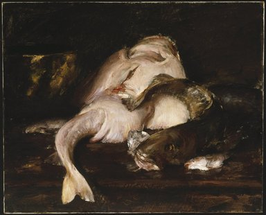 William Merritt Chase (American, 1849-1916). <em>Still Life, Fish</em>, 1912. Oil on canvas, 31 7/8 x 39 7/16 in. (81 x 100.2 cm). Brooklyn Museum, John B. Woodward Memorial Fund, 13.54 (Photo: Brooklyn Museum, 13.54_SL1.jpg)