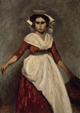 Jean-Baptiste-Camille Corot (French, 1796-1875). <em>An Italian Girl</em>, ca. 1826-1828. Oil on paperboard mounted on panel, 12 11/16 x 9 1/8 in. (32.2 x 23.2 cm). Brooklyn Museum, Gift of Charles A. Schieren, 13.56 (Photo: Brooklyn Museum, 13.56.jpg)