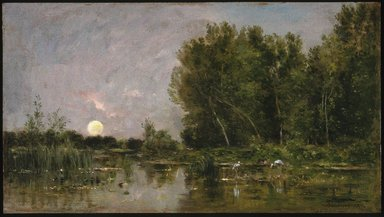Charles-François Daubigny (French, 1817-1878). <em>Moonrise</em>, 1877. Oil on panel, 15 7/8 x 26 3/4 in. (40.3 x 67.9 cm). Brooklyn Museum, Gift of Mrs. Carll H. de Silver in memory of her husband, 13.59 (Photo: Brooklyn Museum, 13.59_SL1.jpg)