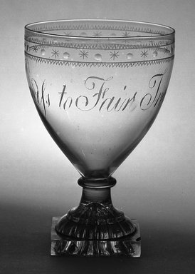 <em>Rummer</em>, ca. 1710-1810. Glass, 5 1/2 x 3 5/8 in. (14 x 9.2 cm). Brooklyn Museum, Purchased by Special Subscription and Museum Collection Fund, 13.606. Creative Commons-BY (Photo: Brooklyn Museum, 13.606_acetate_bw.jpg)