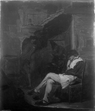 Honoré Daumier (French, 1808-1879). <em>The Siesta</em>. Oil on panel, 16 1/2 x 14 in. (41.9 x 35.6 cm). Brooklyn Museum, Gift of Charles A. Schieren, 13.60 (Photo: Brooklyn Museum, 13.60_glass_bw.jpg)