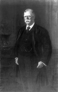 Fedor Encke (German, 1851-1926). <em>Carll H. de Silver</em>, 1906. Oil on canvas, 56 x 36 in. (142.2 x 91.4 cm). Brooklyn Museum, Gift of Mrs. Carll H. de Silver in memory of her husband, 13.66 (Photo: Brooklyn Museum, 13.66_cropped_glass_bw.jpg)