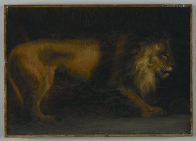 Théodore Géricault (French, 1791-1829). <em>Study of a Lion (or a Lion)</em>. Oil on canvas, 19 3/4 x 15 1/4 in. (50.2 x 38.7 cm). Brooklyn Museum, Gift of Charles A. Schieren, 13.68 (Photo: Brooklyn Museum, 13.68_PS6.jpg)