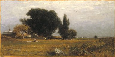 Robert Swain Gifford (American, 1840-1905). <em>Trees and Meadow</em>, ca. 1885. Oil on canvas, 11 15/16 x 23 7/8 in. (30.3 x 60.6 cm). Brooklyn Museum, Gift of Mrs. Carll H. de Silver in memory of her husband, 13.69 (Photo: Brooklyn Museum, 13.69_reference_SL1.jpg)