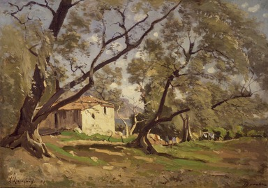 Henri-Joseph Harpignies (French, 1819-1916). <em>A Dairy in Beaulieu (Une laiterie à Beaulieu)</em>, 1891. Oil on lined canvas, 12 1/2 x 17 1/2 in. (31.8 x 44.4 cm). Brooklyn Museum, Gift of Mrs. Carll H. de Silver in memory of her husband, 13.72 (Photo: Brooklyn Museum, 13.72.jpg)