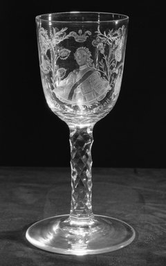 <em>Straight Sided Goblet</em>, ca. 1710-1750. Glass, 7 1/8 x 3 in. (18.1 x 7.6 cm). Brooklyn Museum, Purchased by Special Subscription and Museum Collection Fund, 13.726. Creative Commons-BY (Photo: Brooklyn Museum, 13.726_acetate_bw.jpg)