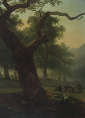 American. <em>Picnic in the Catskills</em>, ca. 1840. Oil on canvas, 47 13/16 x 33 7/8 in. (121.4 x 86 cm). Brooklyn Museum, Gift of Charles A. Schieren, 13.73 (Photo: Brooklyn Museum, 13.73.jpg)