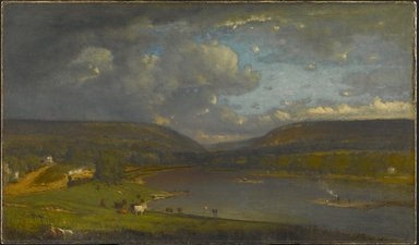 George Inness (American, 1825-1894). <em>On the Delaware River</em>, 1861-1863. Oil on canvas, 28 1/4 x 48 1/16 in. (71.8 x 122 cm). Brooklyn Museum, Purchased by Special Subscription, 13.75 (Photo: Brooklyn Museum, 13.75_PS1.jpg)