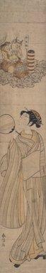 Suzuki Harunobu (Japanese, 1724-1770). <em>Holiday for Kaminari, the Thunder God (Kaminari no Yasumi)</em>, ca. 1768. Woodblock color print, 27 1/4 x 4 13/16 in. (69.2 x 12.2 cm). Brooklyn Museum, Brooklyn Museum Collection, X1119.4 (Photo: Brooklyn Museum, 13.80.jpg)