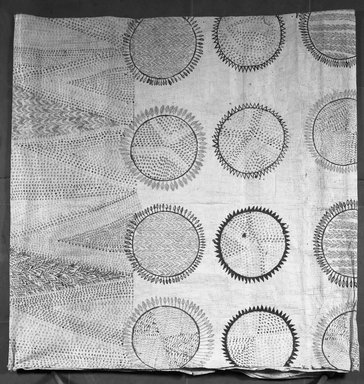 Possibly Hawaiian. <em>Tapa Sheet</em>, mid 19th-early 20th century. Barkcloth, pigment, 93 5/16 x 74in. (237 x 188cm). Brooklyn Museum, Brooklyn Museum Collection, 14.24. Creative Commons-BY (Photo: Brooklyn Museum, 14.24_acetate_bw.jpg)