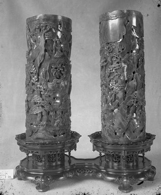 <em>Pair of Vases</em>, 18th century (possibly). Jade, 9 3/4 x 3 11/16 in. (24.8 x 9.4 cm). Brooklyn Museum, Bequest of Robert B. Woodward, 14.342a-b. Creative Commons-BY (Photo: Brooklyn Museum, 14.342a-b_glass_bw.jpg)