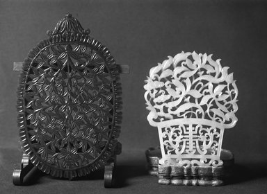 <em>Panel or Mirror</em>, 18th-19th century. Jade, 5 11/16 x 3 11/16 in. (14.5 x 9.3 cm). Brooklyn Museum, Bequest of Robert B. Woodward, 14.428. Creative Commons-BY (Photo: Brooklyn Museum, 14.428_glass_bw.jpg)