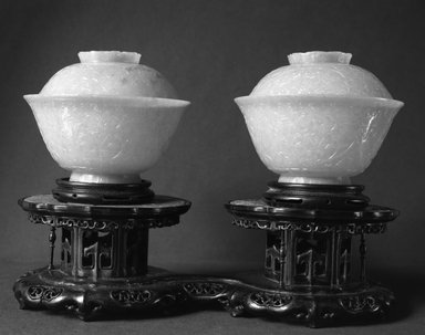 <em>One of a Pair of Bowls and Covers</em>, 19th century. Jade, A: 2 3/8 x 4 5/16 in. (6 x 10.9 cm). Brooklyn Museum, Bequest of Robert B. Woodward, 14.433.1a-b. Creative Commons-BY (Photo: , 14.433.1a-b_14.433.2a-b_glass_bw.jpg)
