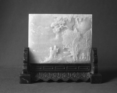 <em>Table Screen and Stand</em>, 18th century. Jade, Stand: 7.4 x 5.2 x 17.4 cm (7.4 x 5.2 x 17.4 cm). Brooklyn Museum, Bequest of Robert B. Woodward, 14.462a-b. Creative Commons-BY (Photo: Brooklyn Museum, 14.462a-b_glass_bw.jpg)