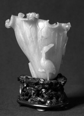 <em>Cup</em>, 18th century (probably). Jade, 3 1/2 x 3 1/8 in. (8.9 x 8 cm). Brooklyn Museum, Bequest of Robert B. Woodward, 14.480. Creative Commons-BY (Photo: Brooklyn Museum, 14.480_glass_bw.jpg)