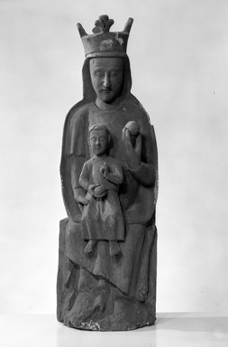 Spanish. <em>Seated Figure of the Virgin and Christ Child</em>, 14th century (possibly). Wood, Height: 37 in. (94 cm). Brooklyn Museum, Museum Collection Fund, 14.521. Creative Commons-BY (Photo: Brooklyn Museum, 14.521_bw.jpg)