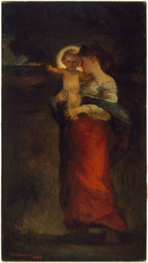 Robert Loftin Newman (American, 1827-1912). <em>Madonna and Child</em>, 1897. Oil on canvas, 22 1/16 x 12 3/16 in. (56 x 30.9 cm). Brooklyn Museum, Gift of A. Augustus Healy, 14.547 (Photo: Brooklyn Museum, 14.547_SL3.jpg)