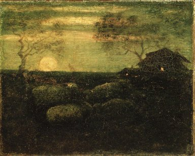 Albert Pinkham Ryder (American, 1847-1917). <em>The Sheepfold</em>, late 1870s. Oil on canvas, 8 7/16 x 8 7/8 in. (21.5 x 22.6 cm). Brooklyn Museum, Gift of A. Augustus Healy, 14.551 (Photo: Brooklyn Museum, 14.551_transp198.jpg)