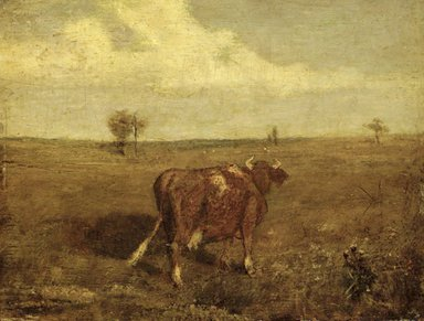 Albert Pinkham Ryder (American, 1847-1917). <em>Summer's Fruitful Pastures</em>, mid-late 1870s. Oil on panel, 7 5/8 x 9 15/16 in. (19.4 x 25.2 cm). Brooklyn Museum, Museum Collection Fund, 14.552 (Photo: Brooklyn Museum, 14.552_transp3249.jpg)