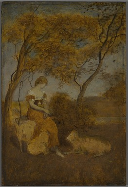 Albert Pinkham Ryder (American, 1847-1917). <em>The Shepherdess</em>, early 1880s. Oil on panel, 10 1/8 x 6 13/16 in. (25.7 x 17.3 cm). Brooklyn Museum, Frederick Loeser Fund, 14.553 (Photo: , 14.553_PS9.jpg)