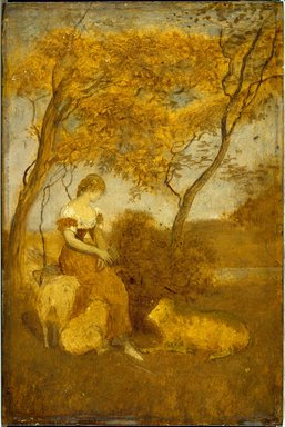 Albert Pinkham Ryder (American, 1847-1917). <em>The Shepherdess</em>, early 1880s. Oil on panel, 10 1/8 x 6 13/16 in. (25.7 x 17.3 cm). Brooklyn Museum, Frederick Loeser Fund, 14.553 (Photo: Brooklyn Museum, 14.553_SL3.jpg)