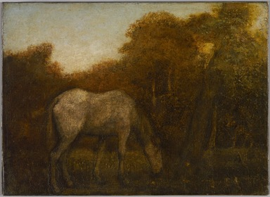 Albert Pinkham Ryder (American, 1847-1917). <em>The Grazing Horse</em>, mid 1870s. Oil on canvas, 10 3/16 x 14 1/8 in. (25.8 x 35.8 cm). Brooklyn Museum, Augustus Graham School of Design Fund, 14.554 (Photo: , 14.554_PS9.jpg)