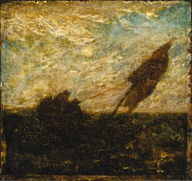 Albert Pinkham Ryder (American, 1847-1917). <em>The Waste of Waters is Their Field</em>, early 1880s. Oil on panel, 11 5/16 x 12 in. (28.8 x 30.5 cm). Brooklyn Museum, John B. Woodward Memorial Fund, 14.556 (Photo: Brooklyn Museum, 14.556_SL1.jpg)