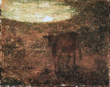 Albert Pinkham Ryder (American, 1847-1917). <em>Moonrise</em>, late 1870s. Oil on canvas, 8 3/8 x 10 5/16 in. (21.3 x 26.2 cm). Brooklyn Museum, Museum Collection Fund, 14.557 (Photo: Brooklyn Museum, 14.557_transp202.jpg)
