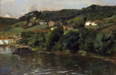 Joaquín Sorolla y Bastida (Spanish, 1863-1923). <em>Asturian Landscape (Paisaje asturiano)</em>, 1903-1904. Oil on canvas, 24 3/8 x 37 1/4 in. (61.9 x 94.6 cm). Brooklyn Museum, Caroline H. Polhemus Fund, 14.559 (Photo: Brooklyn Museum, 14.559_SL3.jpg)