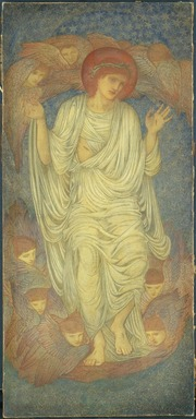 Sir Edward Coley Burne-Jones (British, 1833-1898). <em>Christ in Glory (Salvator Mundi)</em>, begun 1874. Wax crayon and graphite on paper mounted on canvas, 76 x 35 in. (193 x 88.9 cm). Brooklyn Museum, Gift of George D. Pratt, 14.566 (Photo: Brooklyn Museum, 14.566_SL1.jpg)