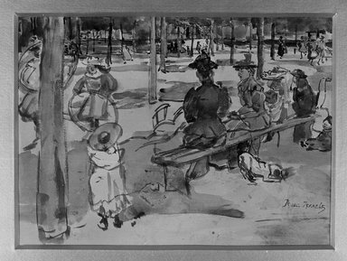 Isaac Israels (Dutch, 1865-1934). <em>In the Park</em>. Watercolor, 9 15/16 x 12 3/4 in. (25.2 x 32.4 cm). Brooklyn Museum, Gift of A. Augustus Healy, 14.573 (Photo: Brooklyn Museum, 14.573_glass_bw.jpg)