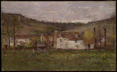 Theodore Robinson (American, 1852-1896). <em>A French Hamlet</em>, ca. 1892. Oil on canvas, 15 13/16 x 25 3/4 in. (40.2 x 65.4 cm). Brooklyn Museum, Gift of George D. Pratt, 14.578 (Photo: Brooklyn Museum, 14.578_SL3.jpg)