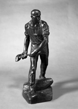 Constantin Meunier (Belgian, 1831-1905). <em>The Quarryman</em>, 1896. Bronze, 22 x 10 x 11 in. (55.9 x 25.4 x 27.9 cm). Brooklyn Museum, Gift of Alfred T. White, 14.588. Creative Commons-BY (Photo: Brooklyn Museum, 14.588_bw.jpg)