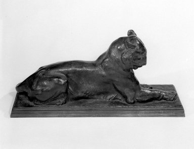 Alexander Phimister Proctor (American, 1862-1950). <em>Princeton Tiger</em>, 1908-1909. Bronze, 9 7/8 x 6 3/8 x 22 3/16 in. (25.1 x 16.2 x 56.4 cm). Brooklyn Museum, Gift of George D. Pratt, 14.589. Creative Commons-BY (Photo: Brooklyn Museum, 14.589_bw.jpg)