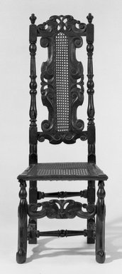 <em>Side Chair with Carved Cresting</em>, ca. 1675., 47 3/4 x 18 x 19 in. (121.3 x 45.7 x 48.3 cm). Brooklyn Museum, Gift of Frederic B. Pratt, 14.593. Creative Commons-BY (Photo: Brooklyn Museum, 14.593_acetate_bw.jpg)