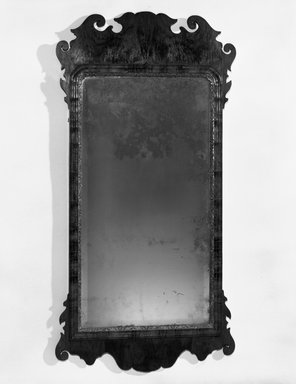 <em>Looking Glass</em>, circa 1750. Mahogany, 43 1/2 × 21 3/4 in. (110.5 × 55.2 cm). Brooklyn Museum, Henry L. Batterman Fund, 14.598. Creative Commons-BY (Photo: Brooklyn Museum, 14.598_bw.jpg)