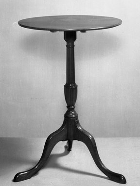American. <em>Candlestand</em>, ca. 1730. Cherry, Height: 25 7/8 in. (65.7 cm). Brooklyn Museum, Henry L. Batterman Fund, 14.706. Creative Commons-BY (Photo: Brooklyn Museum, 14.706_acetate_bw.jpg)